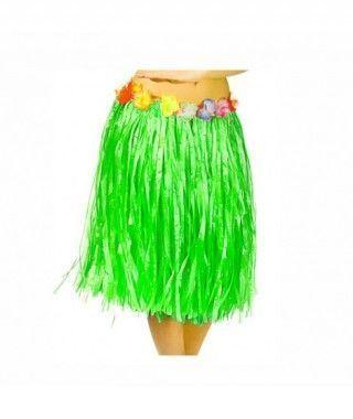 Falda Hawaiana Adulto Hula Verde (60 cm)