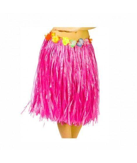 Falda Hawaiana Adulto Hula Fucsia (60 cm)
