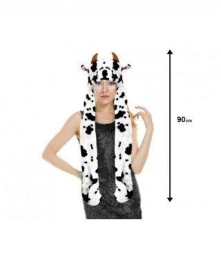 Gorro Vaca de Peluche con Bufanda