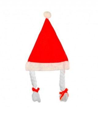 Gorro Navidad Mamá Noel trenzas adulto Terciopelo