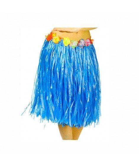 Falda Hawaiana Adulto Hula Azul (60 cm)