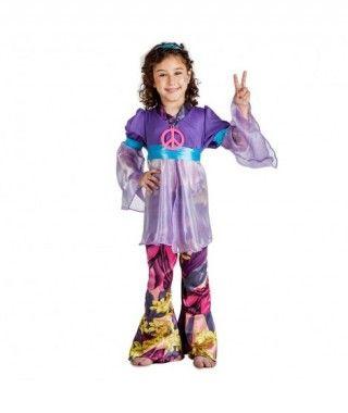 Disfraz Hippie Morado para niña