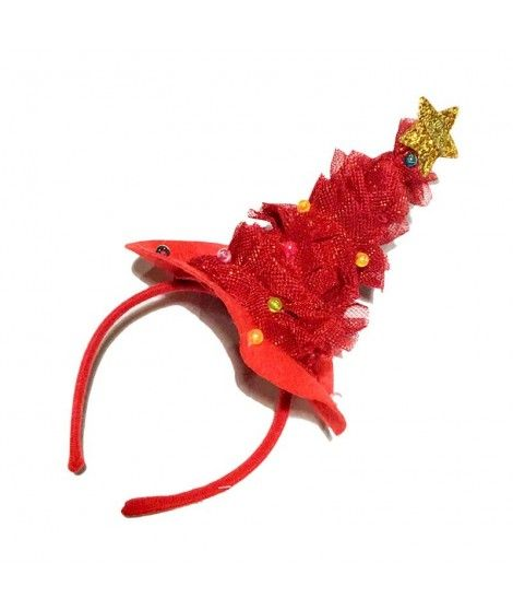 Diadema Árbol de Navidad Rojo