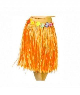 Falda Hawaiana Adulto Hula Naranja (60 cm)
