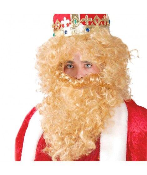 Peluca y Barba Rubia Rey Mago Melchor Accesorio Disfraz