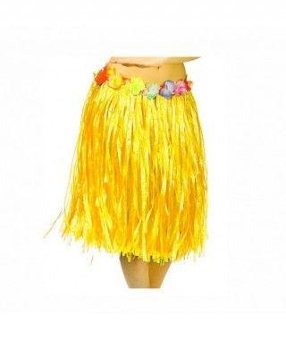 Falda Hawaiana Adulto Hula Amarilla (60 cm)