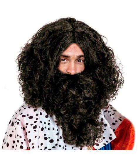 Peluca y Barba Negra Rey Mago Baltasar Accesorio Disfraz
