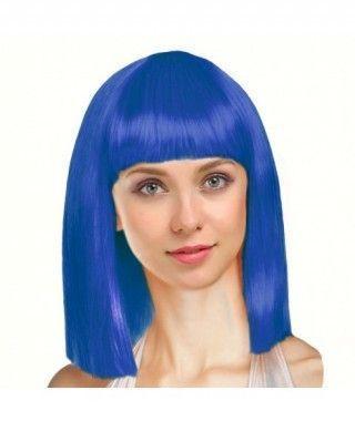 Peluca Azul Oscuro Lisa Media Melena