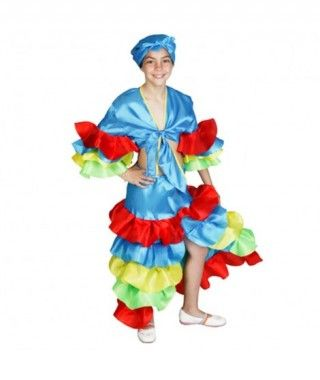 Disfraz Rumbera azul niña