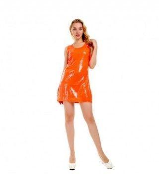 Vestido Naranja Lentejuelas Fiesta y Bailes