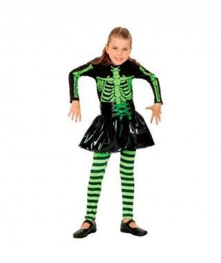 Disfraz Esqueleto verde niña