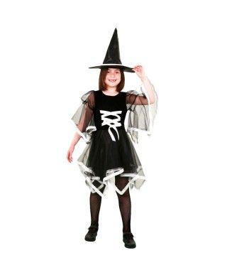 Disfraz Bruja niña con lazo blanco