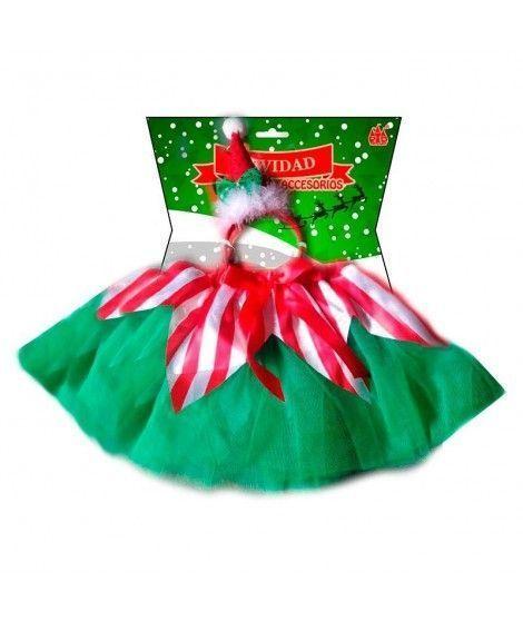 Conjunto Elfo Navidad Tutú y Diadema