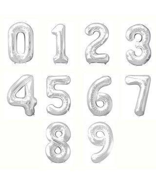Globos de Números Plata (+ tamaños)