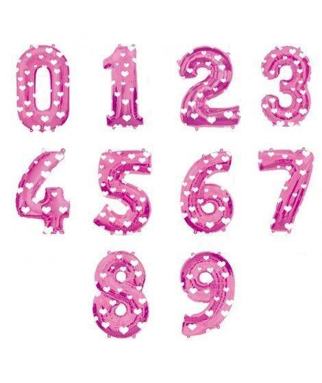 Globos de Números Rosas Foil (80 cm)
