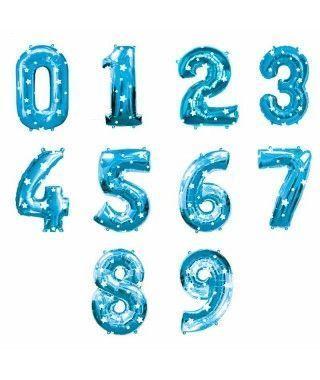Globos de Números Azules Foil (80 cm)