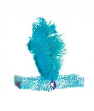 Cinta Pluma Charleston Azul Turquesa
