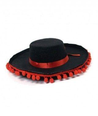 Sombrero Cordobés Borlas Rojas Fieltro