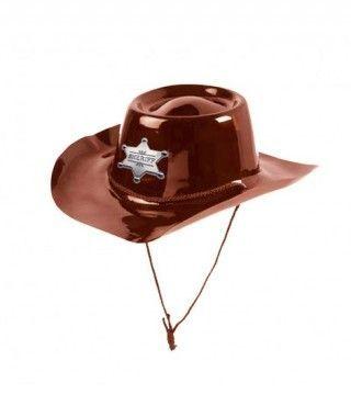 Sombrero Sheriff Marrón Plástico