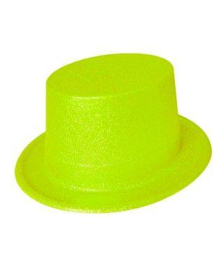 Chistera Verde Neón Purpurina Plástico
