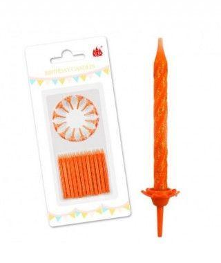 Velas Cumpleaños Naranja Purpurina
