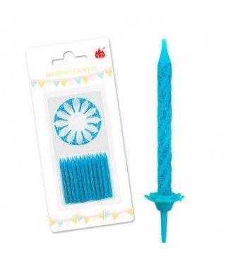 Velas Cumpleaños Azul Turquesa Purpurina