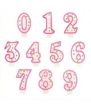 Velas Cumpleaños Números Borde Rosa y Topos Multicolor
