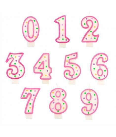 Velas Cumpleaños Números Borde Rosa y...