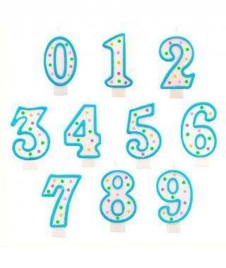 Velas Cumpleaños Números Borde Azul y Topos Multicolor
