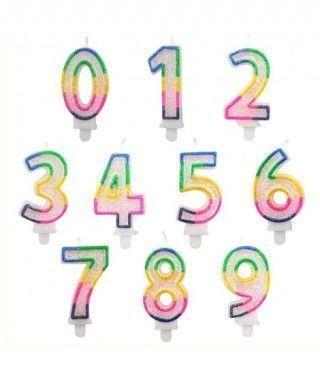Velas Cumpleaños Números Purpurina Borde Multicolor