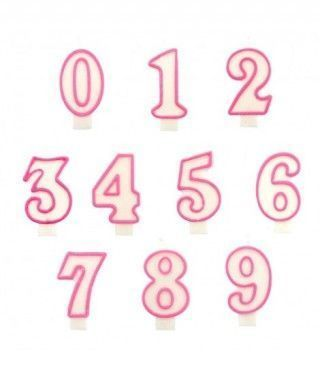 Velas Cumpleaños Números Borde Rosa