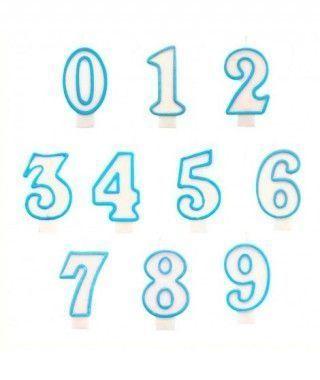 Velas Cumpleaños Números Borde Azul