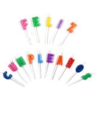 "Velas Cumpleaños ""Feliz Cumpleaños"" Purpurina"