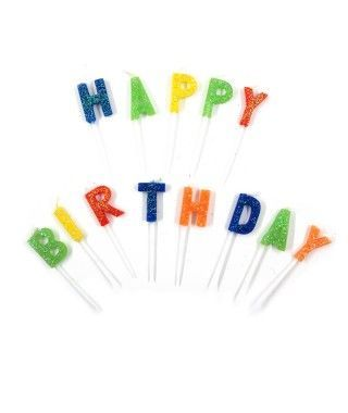 "Velas Cumpleaños ""Happy Birthday"" Purpurina"