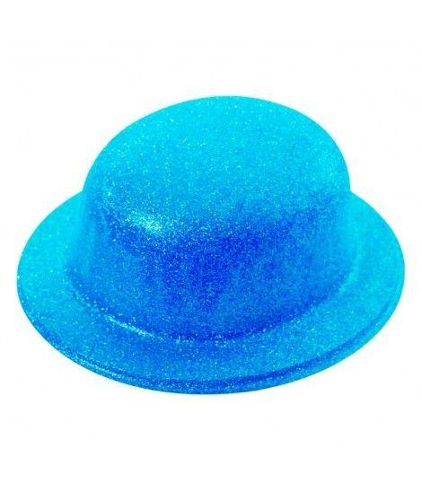 Bombín Azul Neón Purpurina Plástico