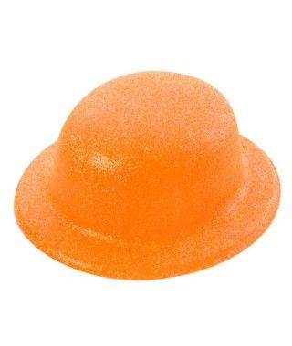 Bombín Naranja Purpurina Plástico