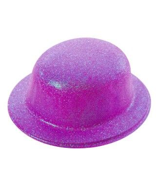 Bombín Morado Purpurina Plástico