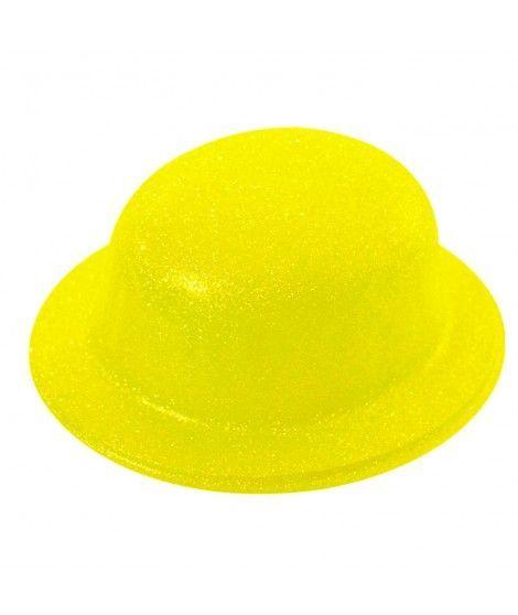Bombín Amarillo Neón Purpurina Plástico