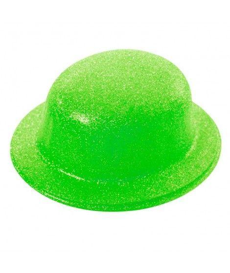 Bombín Verde Neón Purpurina Plástico