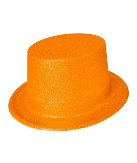 Chistera Naranja Purpurina Plástico