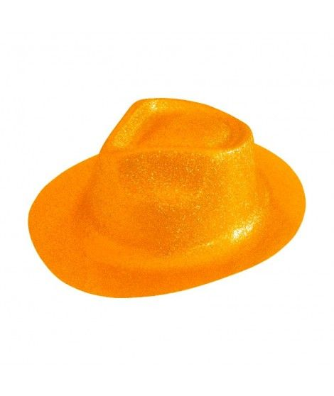 Sombrero Cowboy Naranja Neón Purpurina