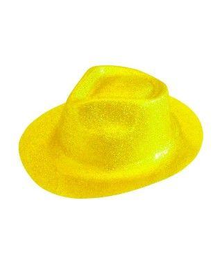 Sombrero Cowboy Amarillo Neón Purpurina