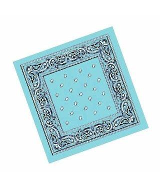 Pañuelo Bandana Vaquero o Rapero Paisley Azul Claro