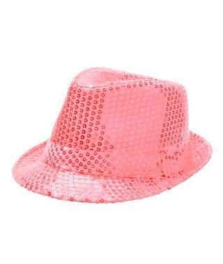 Sombrero lentejuelas rosa neón con ala