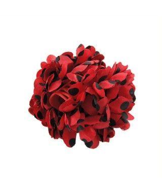 Flor Roja topos negros...