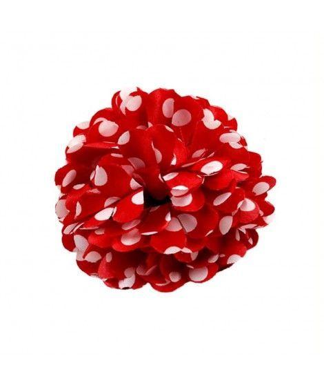 Flor Rojo topos blancos Pinza...