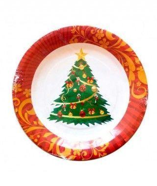 Platos de Papel desechable Árbol de Navidad 23 cm (10 unidades)
