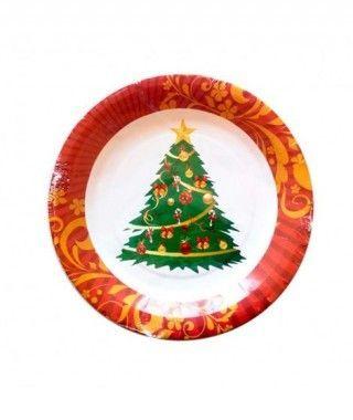 Platos Feliz Navidad de Papel desechable Árbol de Navidad 17,5 cm (10 unidades)