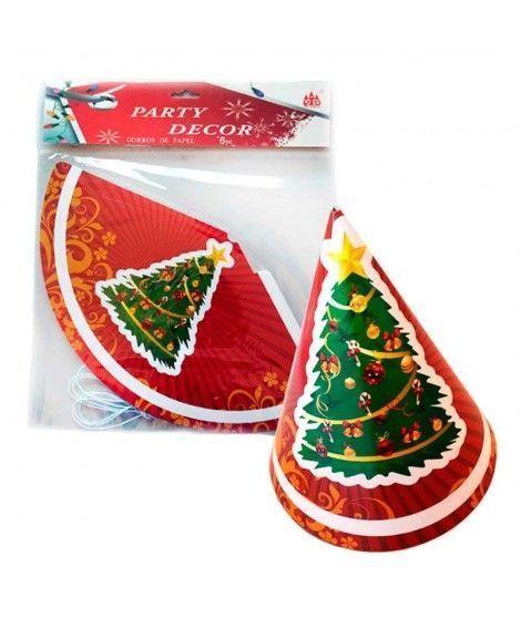 Gorros de Fiesta de Papel Árbol de Navidad (6uds)