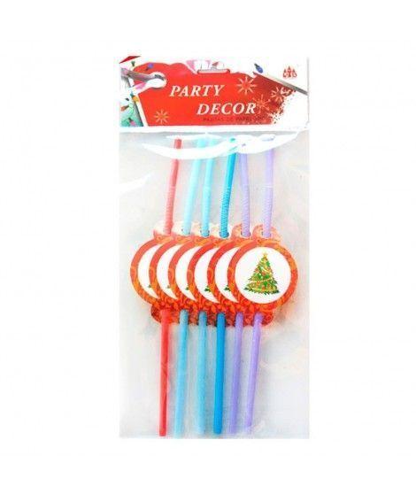 Pajitas de colores Árbol de Navidad (6 unidades)